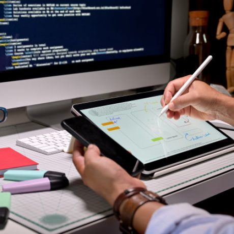 ux-designers-creative-sketch-planning-application-development-prototype-mobile-application_67155-325